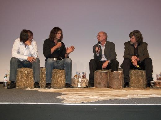 IMS 2009 - Hans Kammerlander, Stefan Glowacz, Ernst Vogt, Reinhold Messner bei der Eröffnungsdiskussion / Copyright: IMS